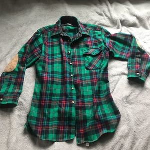 LOBO by Pendleton 100% Wool Green Plaid Shirt M